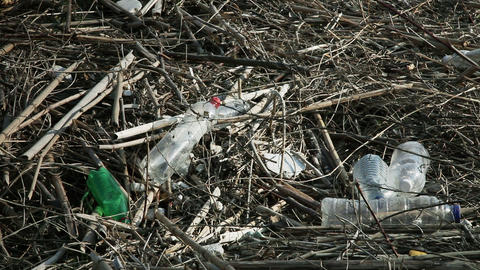 Close up of empty plastic bottles thrown in nature Footage