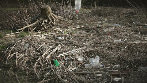 Shot of trashes in nature Footage