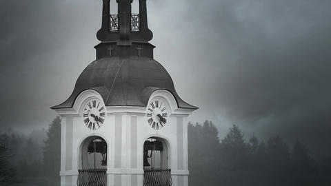 Still shot of church tower with morning mist Live Action