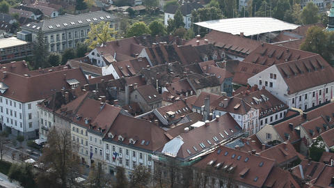 city buildings in old city Ljubljana Live Action