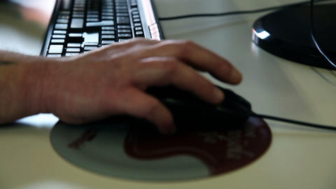 male hand on the computer mouse Footage