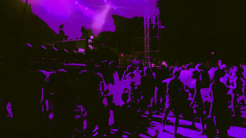 Shot of the crowd on the concert with added animat Footage