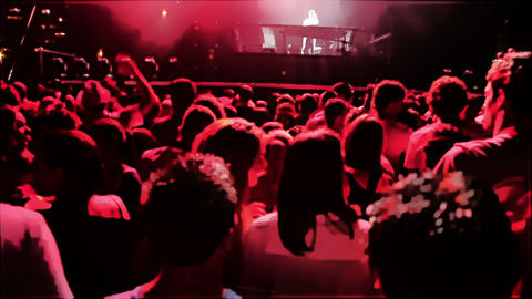 Shot of the crowd on the concert with added animat Live Action