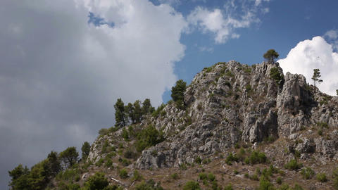 Panoramic shot of the cliff made from the moving b Footage