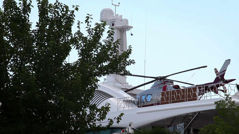 Shot of the helicopter parked on the luxury yacht Footage