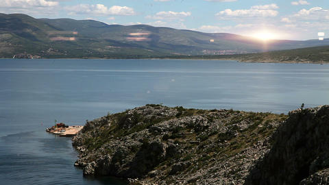 Panoramic shot of a coast near Split with added li Footage