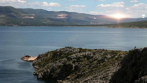 Panoramic shot of a coast near Split with added li Footage