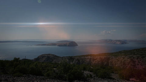 Panoramic shot of the adriatic coast with added op Footage