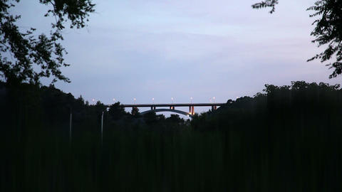 Shot of the bridge on the highway at night Live Action