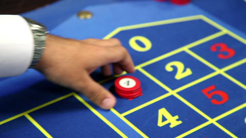 Betting at roulette table Stock Video Footage