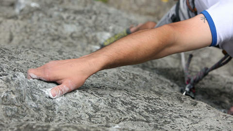 Close up of a hand of a man rock climbing in natur Footage