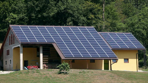 Solar power station on the house near forest Footage