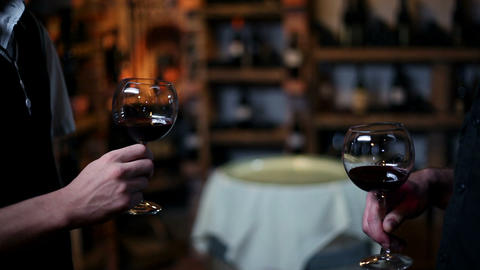 Two people toasting with red wine Footage