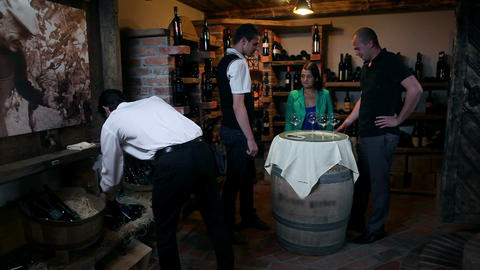 Business people on a wine tasting in cellar Live Action