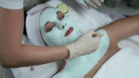 Facial care in beauty spa Footage