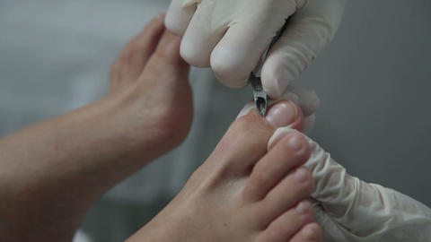 Pedicure in beauty salon Footage