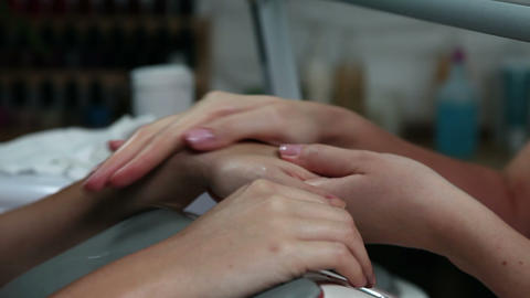 Manicure in a beauty center Footage
