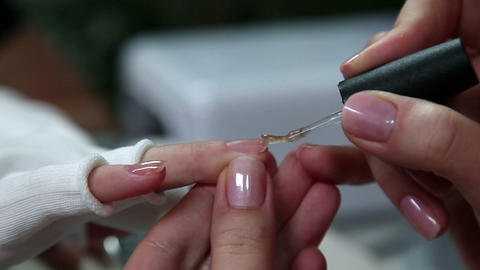 Manicure Varnishing nails Footage