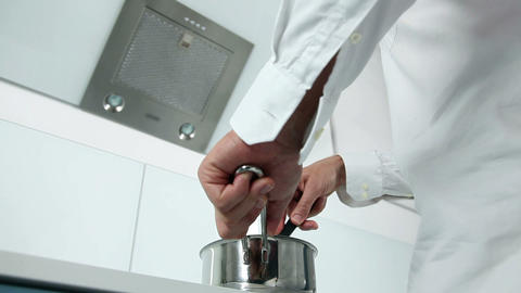 Man Cooking In A Modern Kitchen stock footage