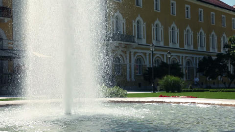 Shot Of A Magnificent Fountain In Front Of Hotel stock footage