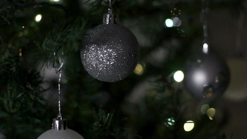 Decorative Silver Balls At New Year stock footage