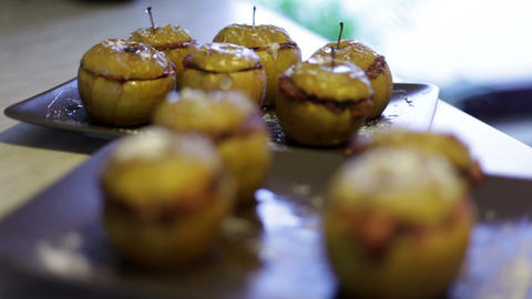 Delicious Apples Filled With Extra Stuffing stock footage