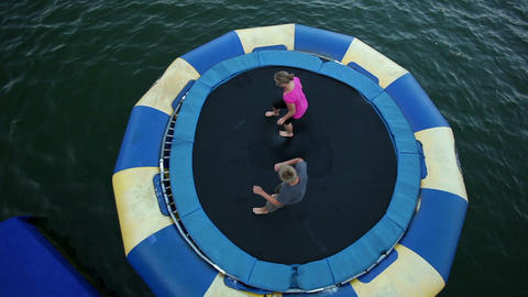 High angle shoot of People jumping on trampoline i Footage