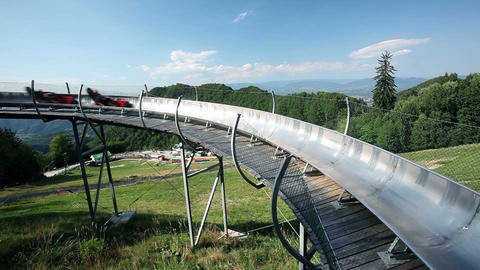 Bobsled track up the hill with perfect view Footage