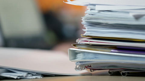 Close up on documents in office Footage
