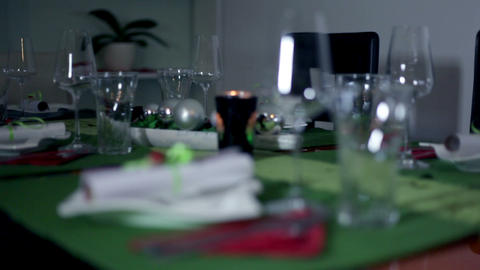 Place setting on decorated table for special occas Footage