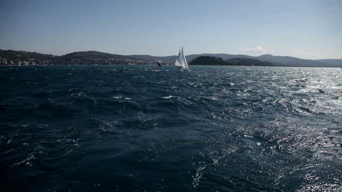 wavy sea shot from sailing boat with competition b Footage