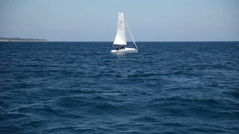 Sailboat in the wide empty sea Footage