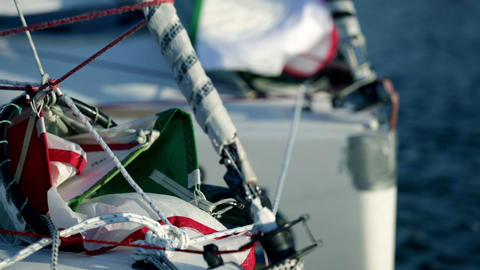 Details of sailboats while preparing for sailing r Footage