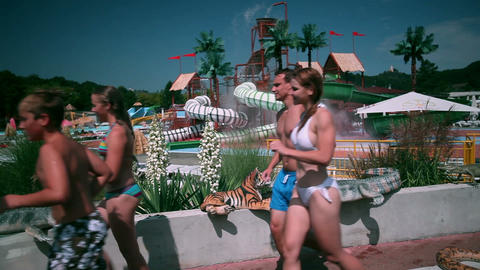 Group of people enjoying time in water park Footage