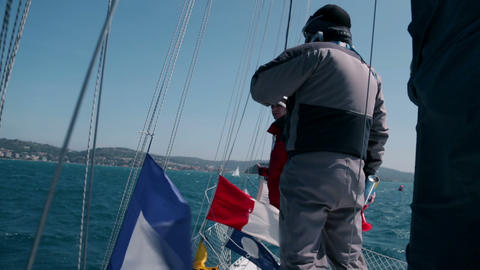 Extreme windy day for sailing shot from onboard Footage