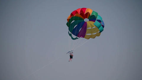 Close Up Of Parachutist With Colorful Parachut Fly stock footage