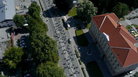 Sky shot of bicycle competition start in city Footage
