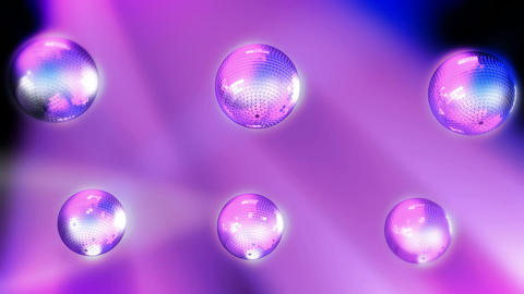 Six Rotating disco balls with reflected lights. Seamless... Stock Video Footage