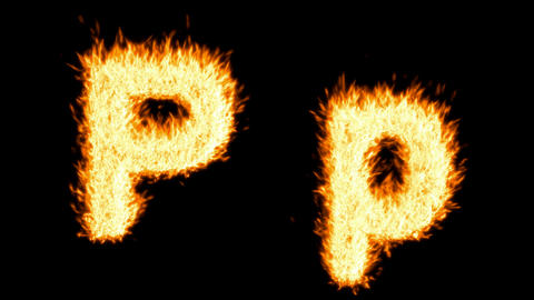 Loopable burning P character, capital and small. Alpha... Stock Video Footage