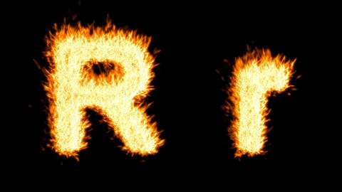 Loopable burning R character, capital and small. Alpha... Stock Video Footage