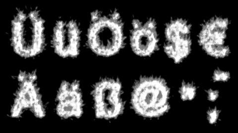 Loopable burning German umlauts, dollar, euro, comma,... Stock Video Footage