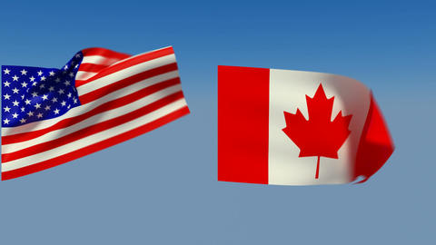 Loopable USA and Canada Flags. Alpha channel is included Stock Video Footage