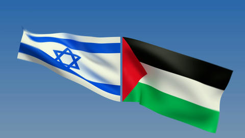 Loopable Israel and Palestine Flags. Alpha channel is... Stock Video Footage