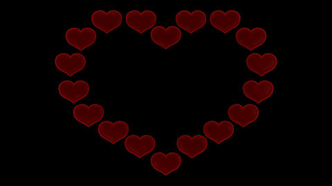 St. Valentine's Day heart scattering shower. Alpha... Stock Video Footage