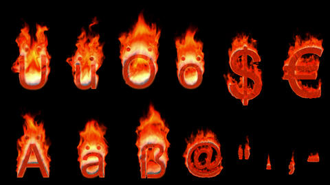 Loopable burning German umlauts, dollar, euro, comma, quote, dot, hyphen. Alpha channel is included Animation