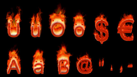 Loopable burning German umlauts, dollar, euro, comma,... Stock Video Footage