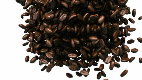 Coffee beans mixing and tossing up with slow motion Stock Video Footage