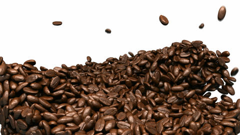 Coffee beans mixing and tossing up with slow motion Animation