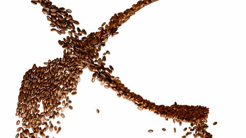 Coffee beans whirl with slow motion over white Animation