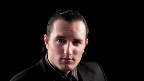 businessman portrait on black Stock Video Footage